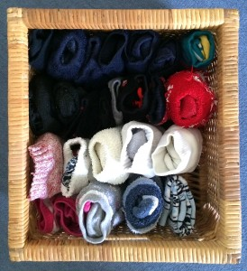 A basket of pairs: socks of all kinds in their own mini drawer
