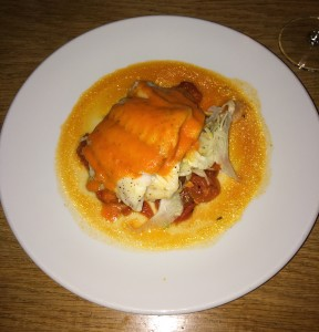 North Sea cod with tomato compote, shaved fennel and red pepper sauce